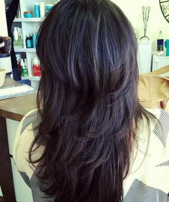 Cortes de cabello largo escalonado en punta