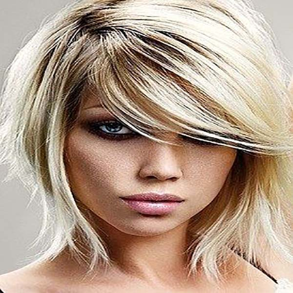 cortes de pelo con flequillo rubio media melena